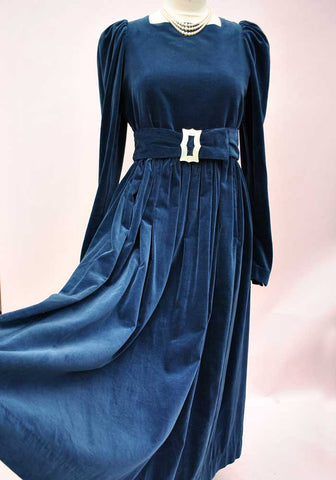 vintage laura ashley blue velvet dress
