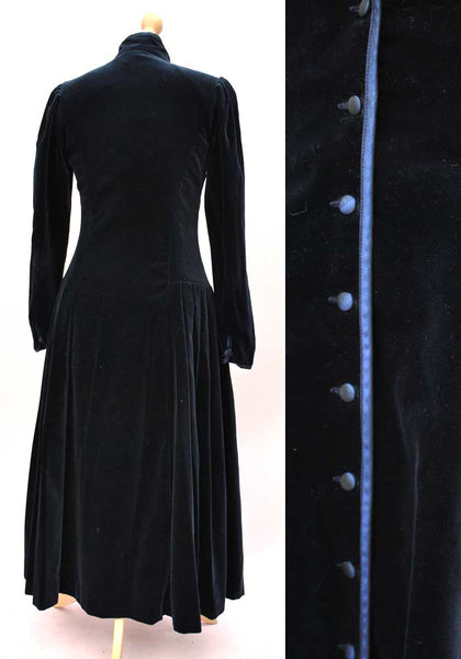 vintage laura ashley midnight blue velvet dress