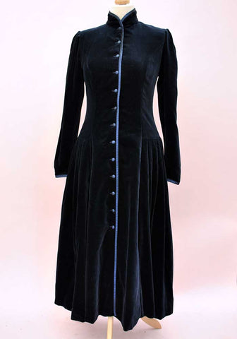 vintage laura ashley midnight blue velvet coat dress