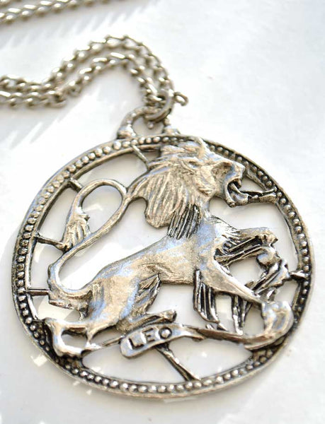 large astrology sign leo necklace