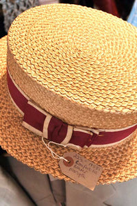 vintage 1930s straw school boater hat with red and white crossgrain hat band