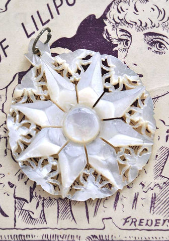 Vintage Carved Mother of Pearl Bethlehem Star Pendant