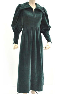 Vintage 70s Teal Velvet Edwardian Style Maxi Dress • Balloon Sleeves