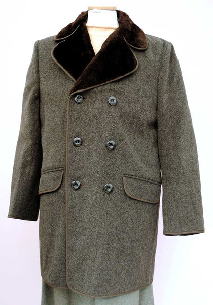 vintage double breasted grey mohair overcoat