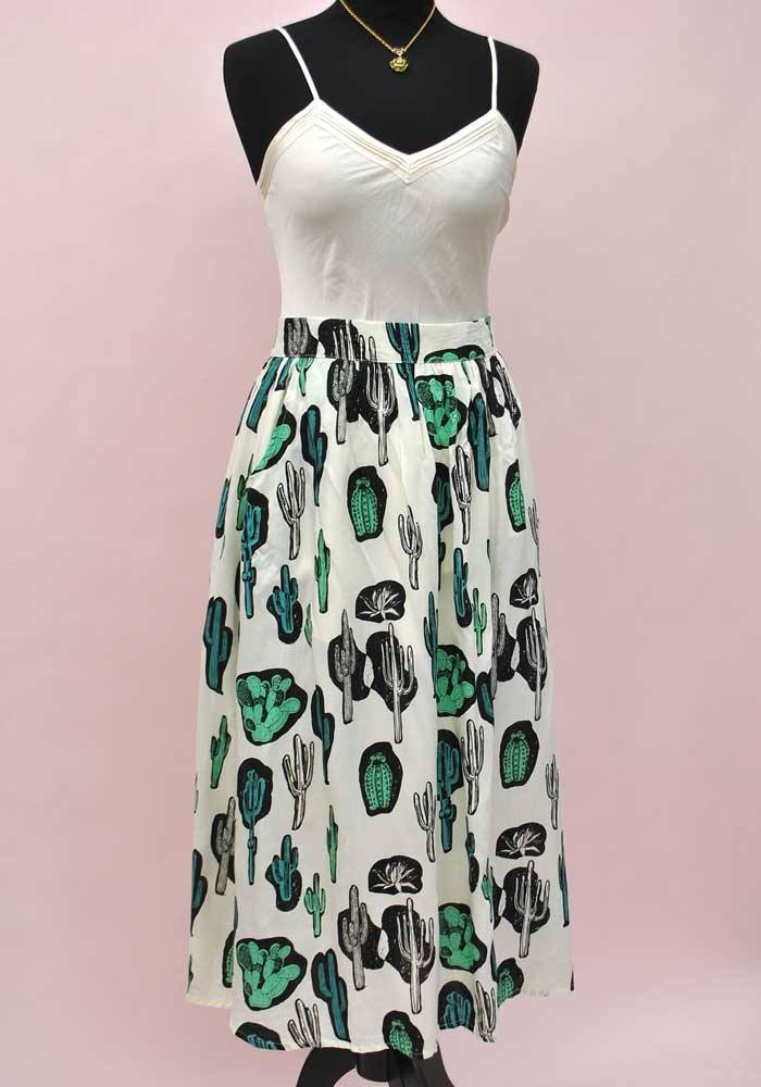 cactus print skirt with pockets
