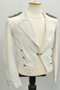1940s white tropical mess jacket, RAF No8 cropped officer's jacket with kings crown brass buttons
