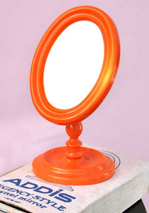 vintage 70s orange plastic addis swivel mirror, vanity mirror for shaving or make up