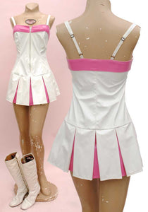 white vintage pvc vinyl mini dress by phaze, tennis dress
