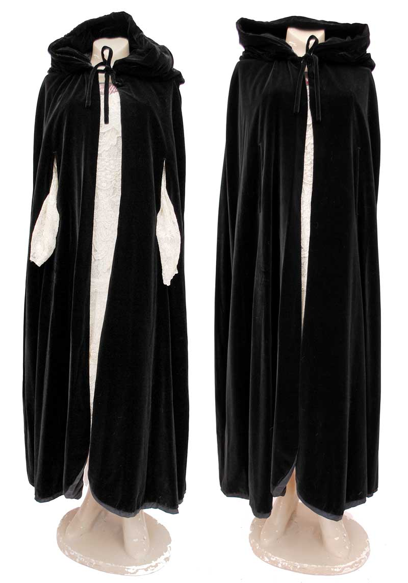 jet black luxurious velvet cape, vampire dracula cloak
