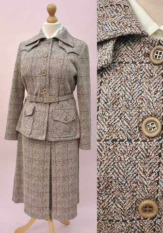Women's Vintage Ray Anthony Faux-Tweed Skirt Suit • Skirt & Safari Jacket