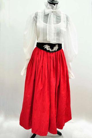Vintage 50s Long Red Tafetta Cocktail Skirt with Netted Underskirts