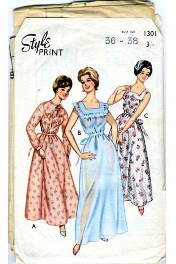 vintage 60s nightie dress pattern Style 1301