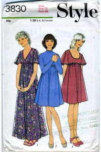 1970s Style Maxi dress sewing pattern 3830