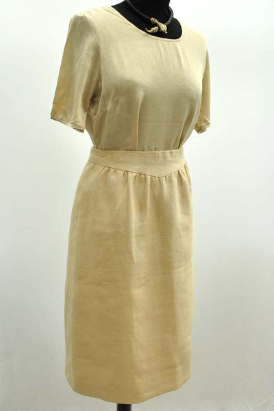 size 8, vintage valentino neutral linen skirt suit, bespoke made