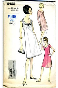 Vogue 6455 1960s shift dress vintage pattern