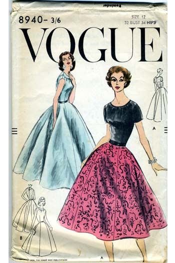 1950s Vintage Vogue Dress 8940 Dressmaking Pattern