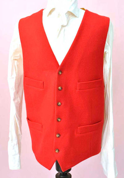 red wool moleskin hunting waistcoat XL 50 inch chest by gurteen