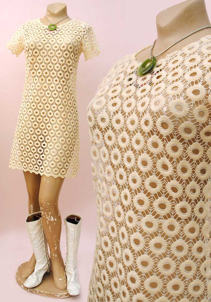 sheer lace effect mini dress 1960s go-go dancer style