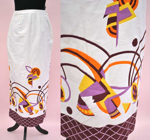 Vintage 80s Modernist Abstract Screen Printed Pencil Skirt