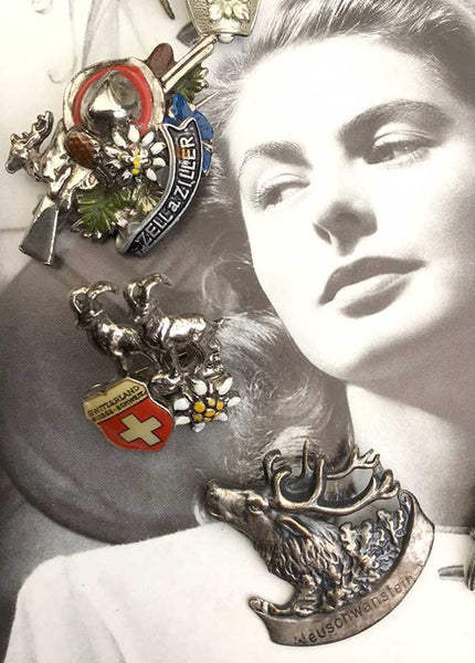 Assorted Era Vintage Collection of 8 Alpine Souvenir Brooches