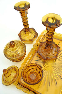 1930s Vintage Deco Amber Glass Dressing Table Vanity Set