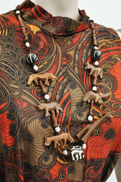 Boho Carved Wooden Animal Safari Necklace • African Jewellery • Wood