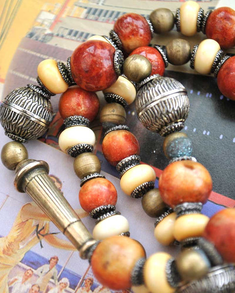 Vintage Apple Coral Statement Tribal Necklace • Boho