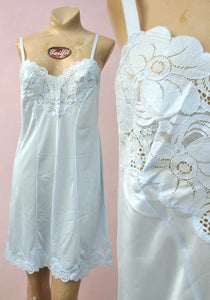 ice blue nylon full slip, vintage lingerie