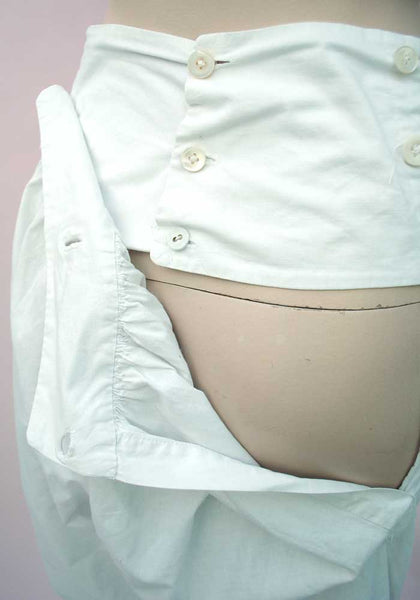back button flap bloomers with linen covered buttons