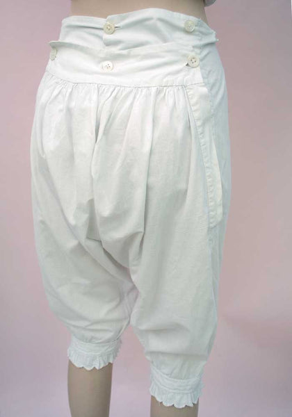 Antique Victorian White Back Flap Bloomers • Knickerbockers