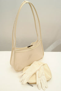 Vintage Cream Vinyl Shoulder Bag with Matching Purse • Coccinelle