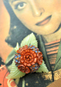 Vintage Bakelite and Celluloid Flower Bouquet Brooch