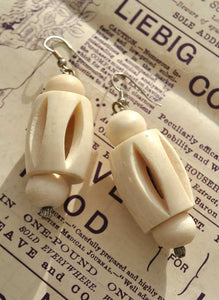 Vintage Carved Ox bone Dangle Earrings • Pierced earrings
