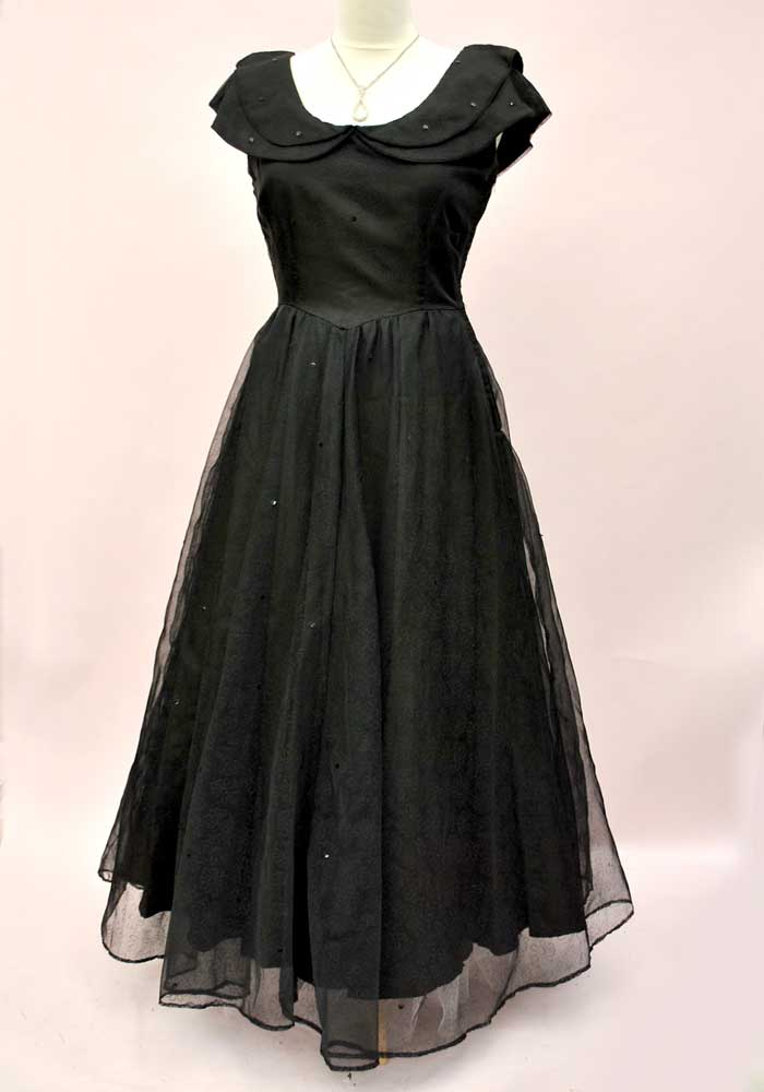 vintage black chiffon ball gown