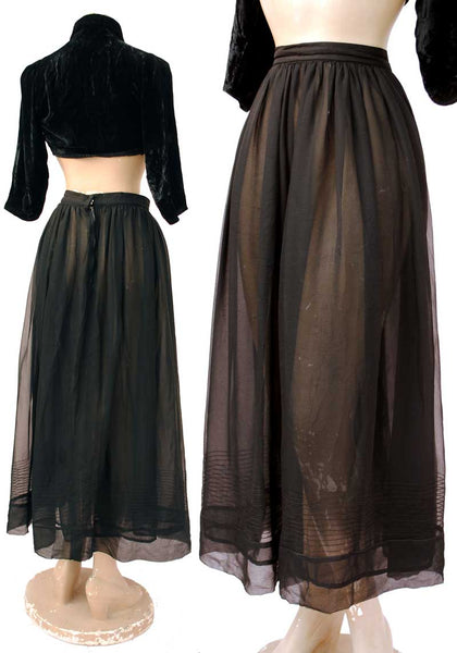 vintage 1910s style black sheer skirt with pin tucked bands around the hem, see through skirt.