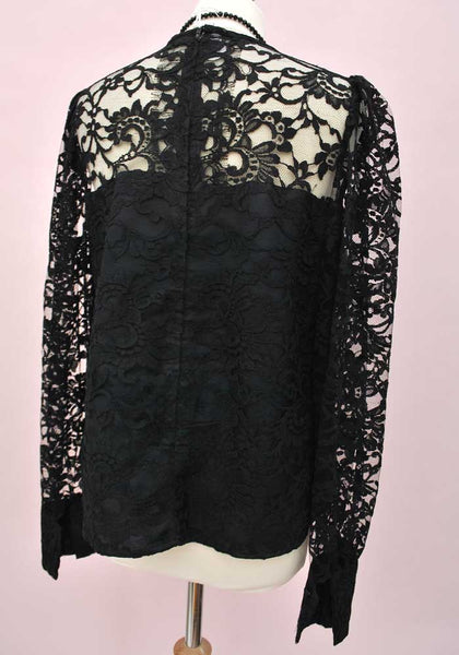 black lace long sleeve top top by wolfangel