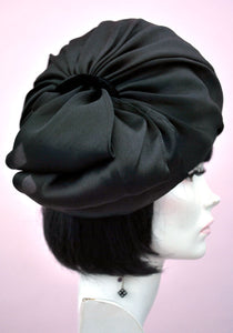 vintage Edna Wallace black silk turban hat