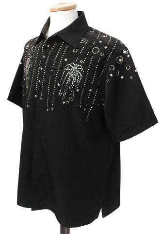 mens retro rockabilly vegas shirt, black with rhinestones and studs