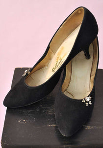 black suede 1960s stilettos