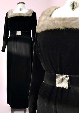vtg 50s fur trimmed velvet dress