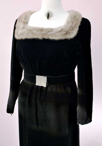 50s grey mink trimmed black velvet gown