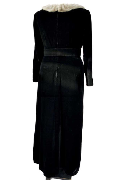 Vintage 50s Black Velvet Evening Gown Grey Mink Trim • VOLUP