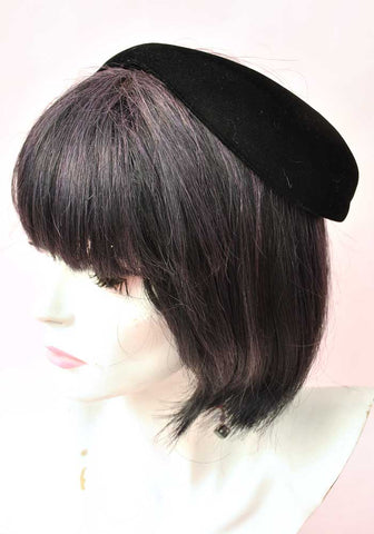 Vintage 50s Black Velvet Donut Halo Head Band