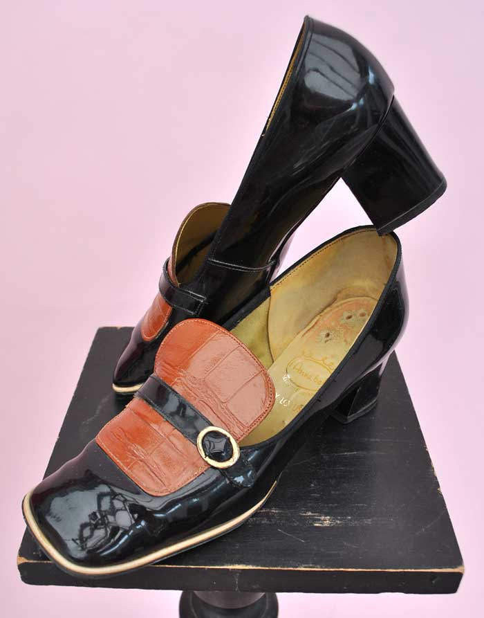 original vintage 60s square front slip on Mod shoes in black patent with mock croc vamp