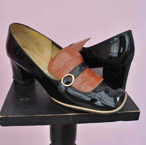 black and tan patent 60s Mod shoes for women with buckle and strap