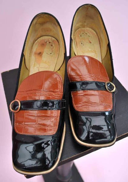 vintage 1960s square toe, slip on, black patent shoes, go-go or Mod these are  very much of that era