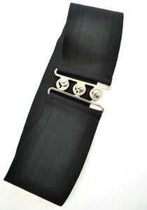 Retro rockabilly black cincher belt