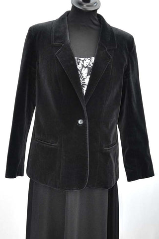 women's vintage black cotton velvet jacket