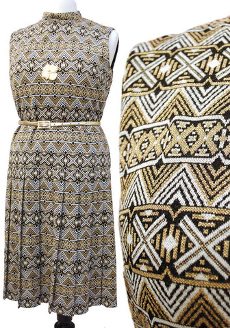 60s black and gold lurex pleated sleeveless dress