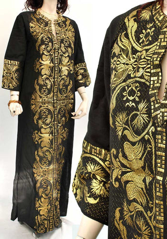 traditional greek black and gold maxi caftan dress